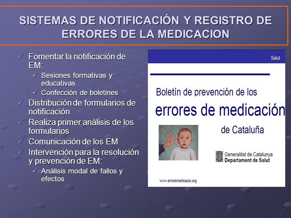 SISTEMAS DE NOTIFICACIÓN Y REGISTRO DE ERRORES DE LA MEDICACION Fomentar la notificación de EM: Fomentar la notificación de EM: Sesiones formativas y