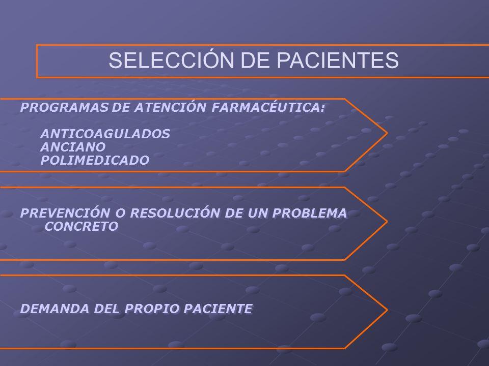 PREVENCIÓN O RESOLUCIÓN DE UN PROBLEMA CONCRETO PROGRAMAS DE ATENCIÓN FARMACÉUTICA: ANTICOAGULADOS ANCIANO POLIMEDICADO PROGRAMAS DE ATENCIÓN FARMACÉUTICA: ANTICOAGULADOS ANCIANO POLIMEDICADO DEMANDA DEL PROPIO PACIENTE SELECCIÓN DE PACIENTES