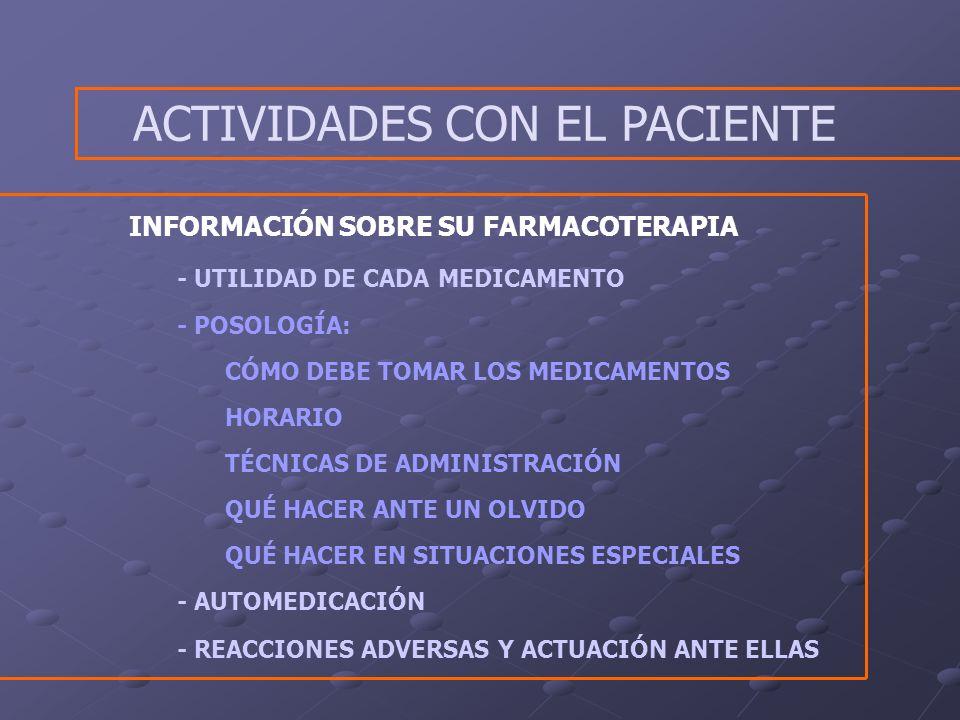 INFORMACIÓN SOBRE SU FARMACOTERAPIA - UTILIDAD DE CADA MEDICAMENTO - POSOLOGÍA: CÓMO DEBE TOMAR LOS MEDICAMENTOS HORARIO TÉCNICAS DE ADMINISTRACIÓN QUÉ HACER ANTE UN OLVIDO QUÉ HACER EN SITUACIONES ESPECIALES - AUTOMEDICACIÓN - REACCIONES ADVERSAS Y ACTUACIÓN ANTE ELLAS ACTIVIDADES CON EL PACIENTE