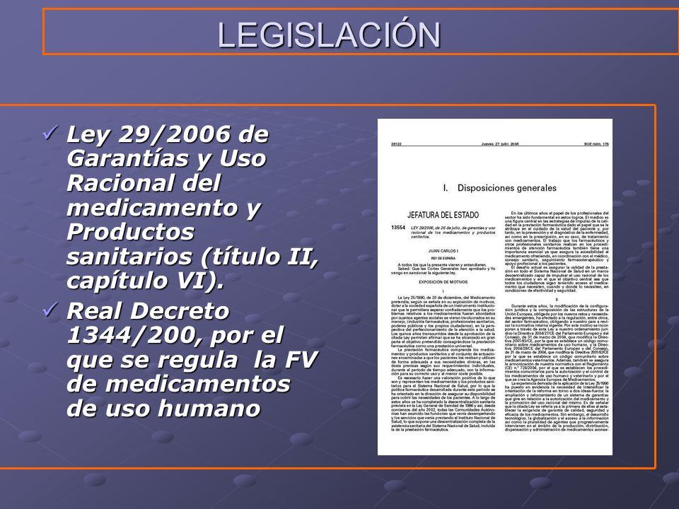 LEGISLACIÓN Ley 29/2006 de Garantías y Uso Racional del medicamento y Productos sanitarios (título II, capítulo VI). Ley 29/2006 de Garantías y Uso Ra