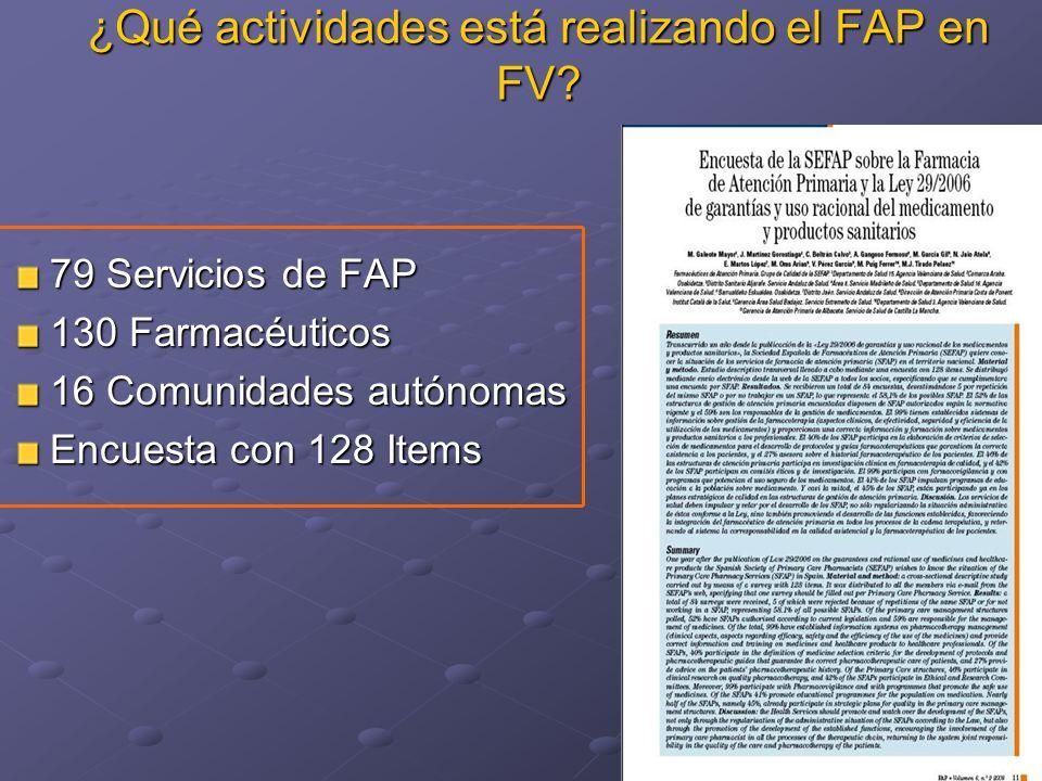 ¿Qué actividades está realizando el FAP en FV? 79 Servicios de FAP 130 Farmacéuticos 16 Comunidades autónomas Encuesta con 128 Items