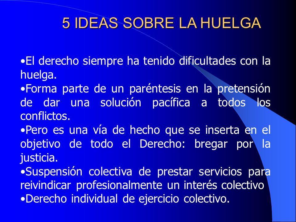5 IDEAS SOBRE LA HUELGA El derecho siempre ha tenido dificultades con la huelga.