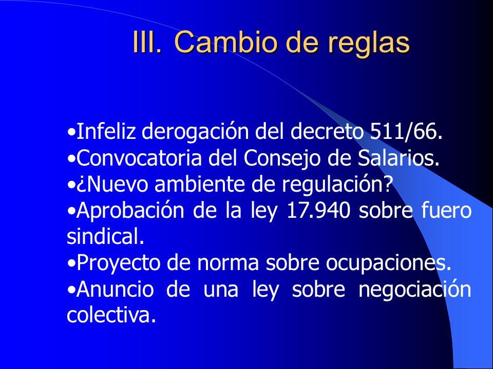III.Cambio de reglas Infeliz derogación del decreto 511/66.