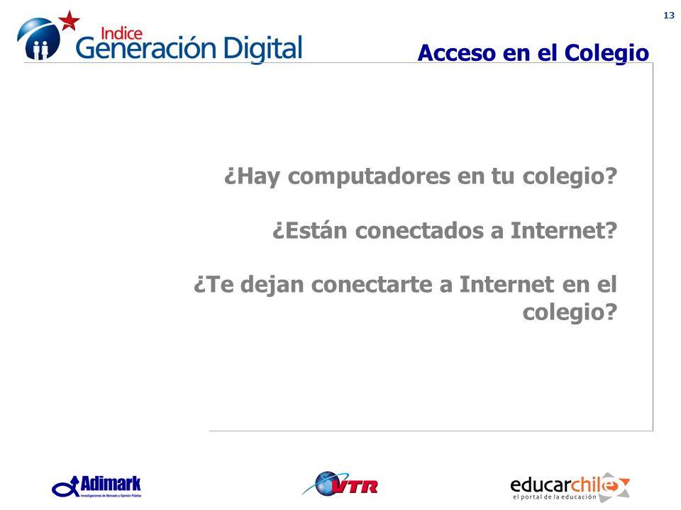 13 Acceso en el Colegio ¿Hay computadores en tu colegio.