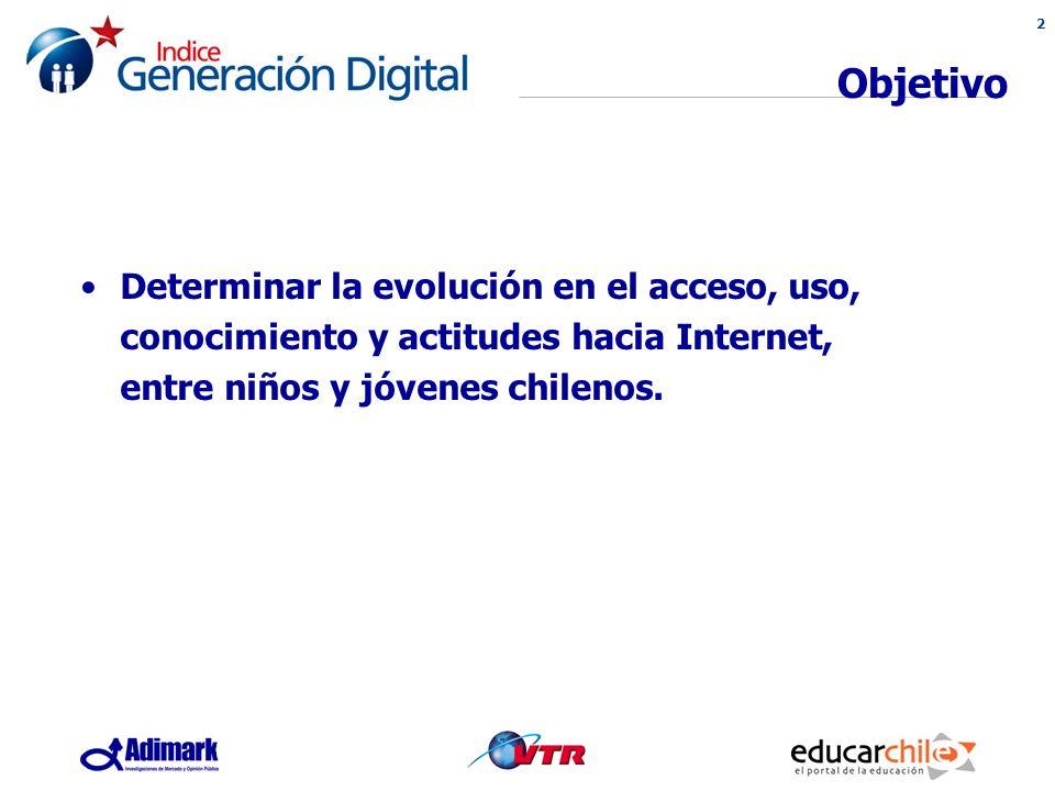 2 Objetivo Determinar la evolución en el acceso, uso, conocimiento y actitudes hacia Internet, entre niños y jóvenes chilenos.