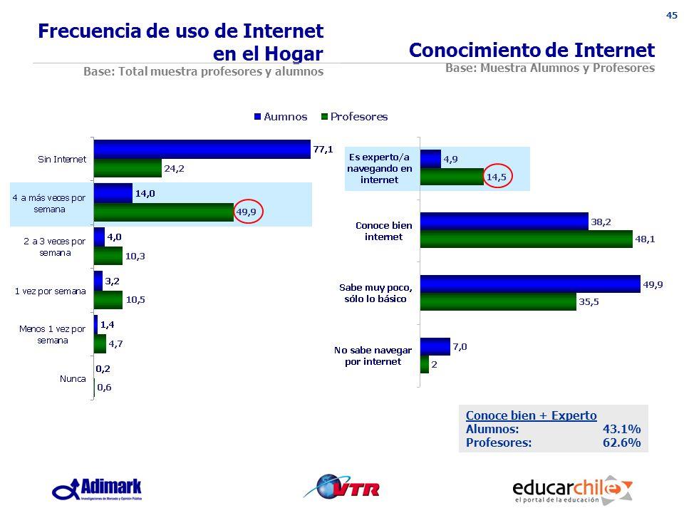 45 Conocimiento de Internet Base: Muestra Alumnos y Profesores Conoce bien + Experto Alumnos:43.1% Profesores:62.6% Frecuencia de uso de Internet en el Hogar Base: Total muestra profesores y alumnos