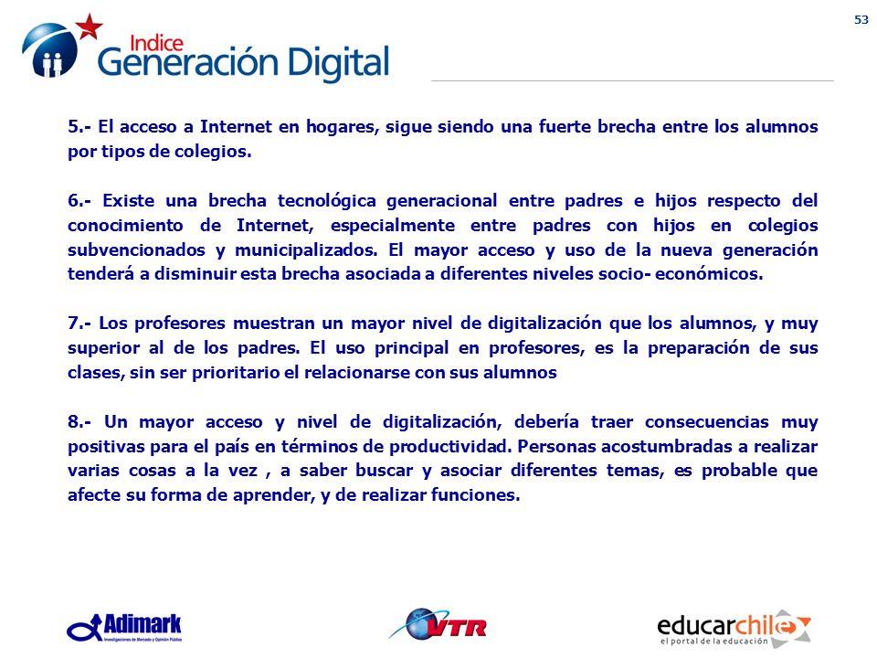 53 5.- El acceso a Internet en hogares, sigue siendo una fuerte brecha entre los alumnos por tipos de colegios.
