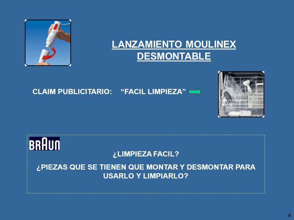 4 LANZAMIENTO MOULINEX DESMONTABLE CLAIM PUBLICITARIO:FACIL LIMPIEZA ¿LIMPIEZA FACIL.