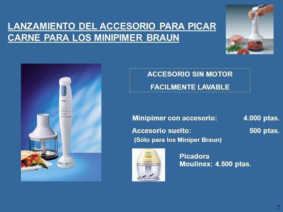 7 LANZAMIENTO DEL ACCESORIO PARA PICAR CARNE PARA LOS MINIPIMER BRAUN Minipimer con accesorio:4.000 ptas.