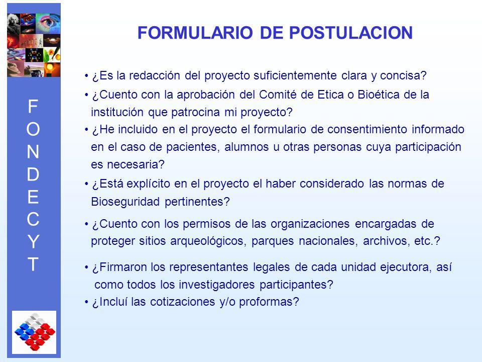 FONDECYTFONDECYT ¿Es la redacción del proyecto suficientemente clara y concisa.
