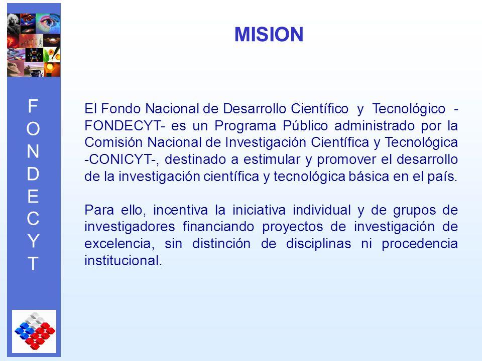 FONDECYTFONDECYT El Fondo Nacional de Desarrollo Científico y Tecnológico - FONDECYT- es un Programa Público administrado por la Comisión Nacional de Investigación Científica y Tecnológica -CONICYT-, destinado a estimular y promover el desarrollo de la investigación científica y tecnológica básica en el país.