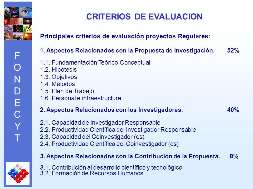 FONDECYTFONDECYT Principales criterios de evaluación proyectos Regulares: 1.