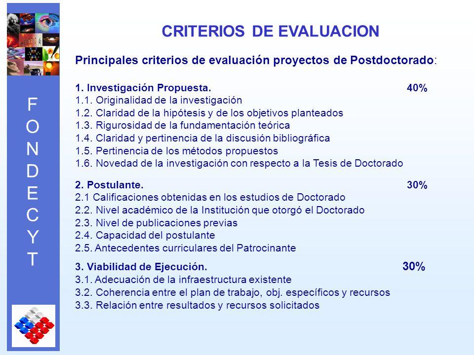 FONDECYTFONDECYT Principales criterios de evaluación proyectos de Postdoctorado: 1.
