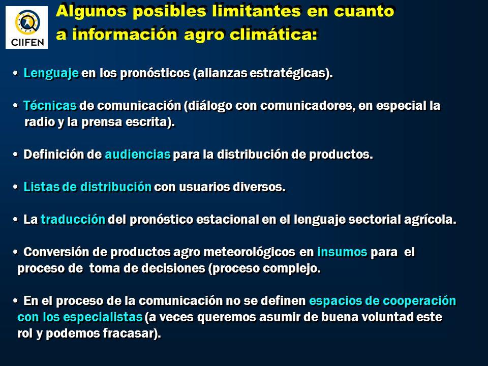 Algunos posibles limitantes en cuanto a información agro climática: Algunos posibles limitantes en cuanto a información agro climática: Lenguaje en los pronósticos (alianzas estratégicas).