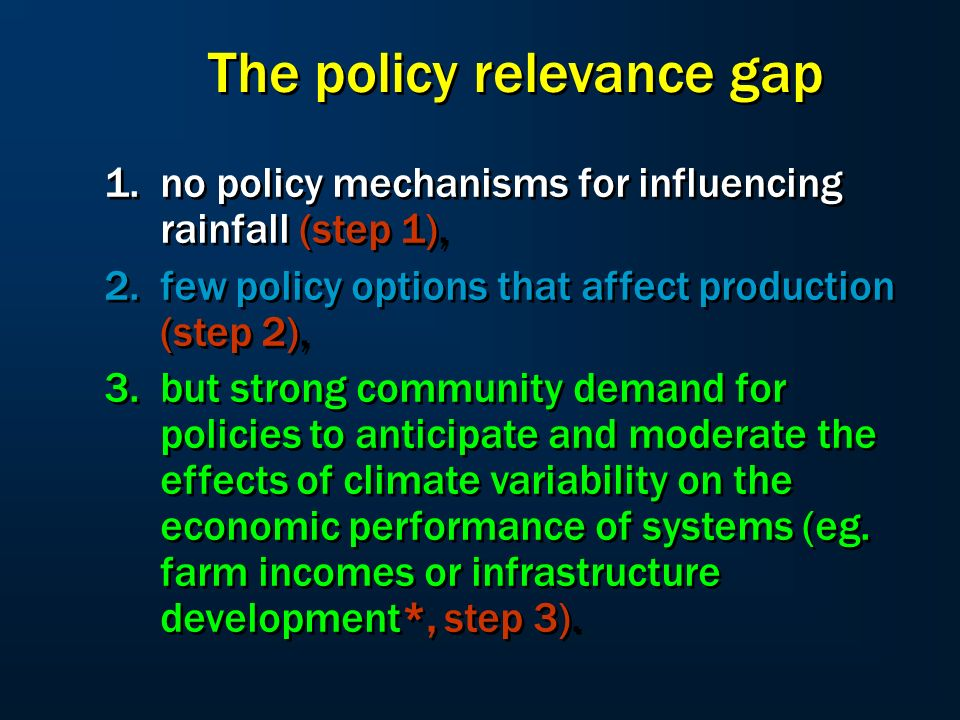 Government national / regional Insight into socio-economic FEASIBILITY Farm economics Insight into technical POSSIBILITY Systems analysis Dynamic climate modelling Insight into climatic PROCESSES Seasonal climate forecasts Climate Science Resource economics Resource Manager Socio- economic Science Systems Science