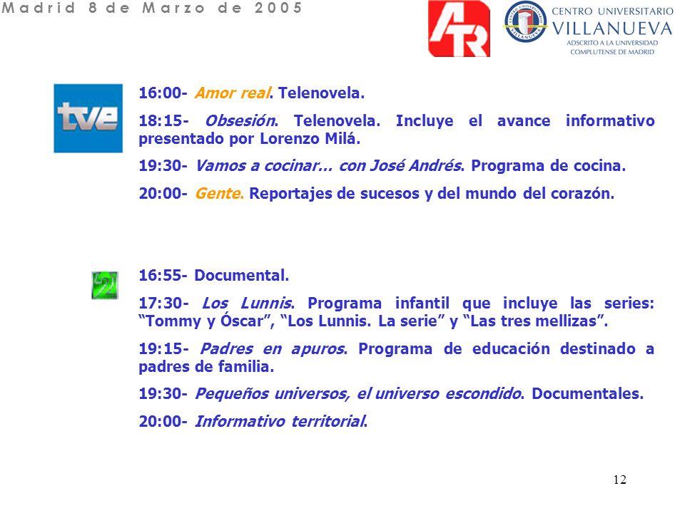 13 15:45- La buena onda.Magazine vespertino presentado por Alicia Senovilla.