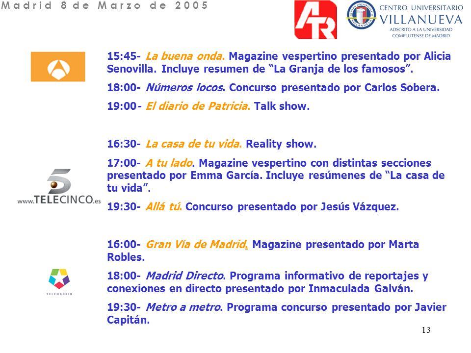 13 15:45- La buena onda. Magazine vespertino presentado por Alicia Senovilla.