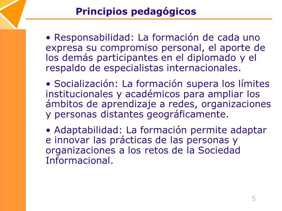 5 Principios pedagógicos Responsabilidad: La formación de cada uno expresa su compromiso personal, el aporte de los demás participantes en el diplomado y el respaldo de especialistas internacionales.