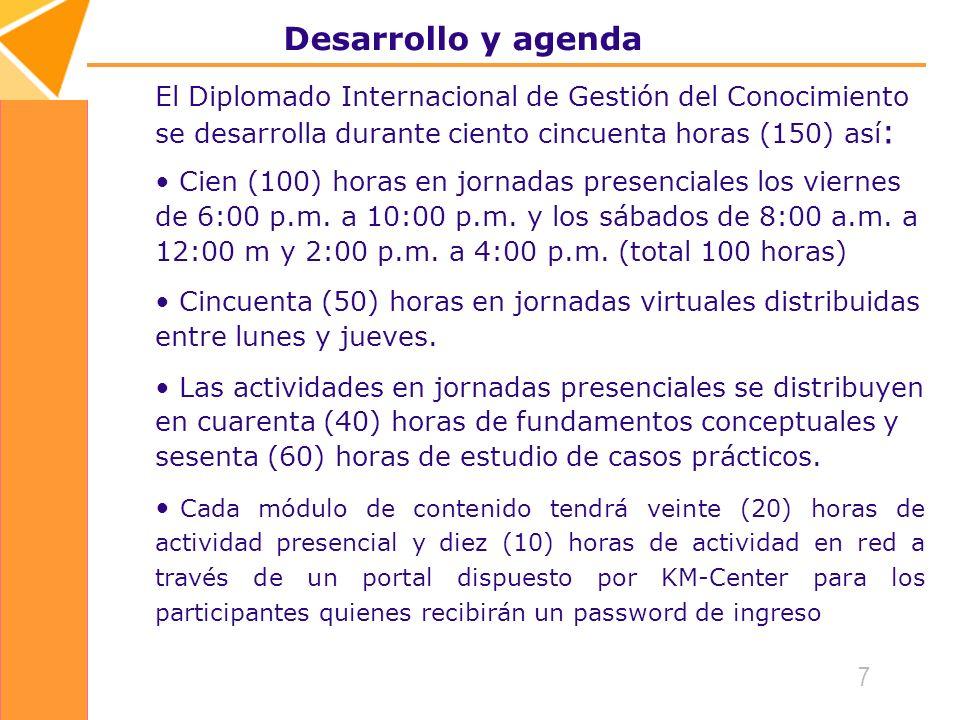 7 Desarrollo y agenda El Diplomado Internacional de Gestión del Conocimiento se desarrolla durante ciento cincuenta horas (150) así : Cien (100) horas en jornadas presenciales los viernes de 6:00 p.m.