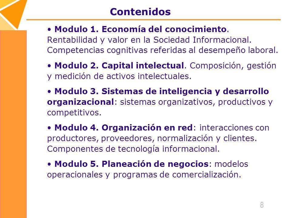 8 Contenidos Modulo 1.Economía del conocimiento.