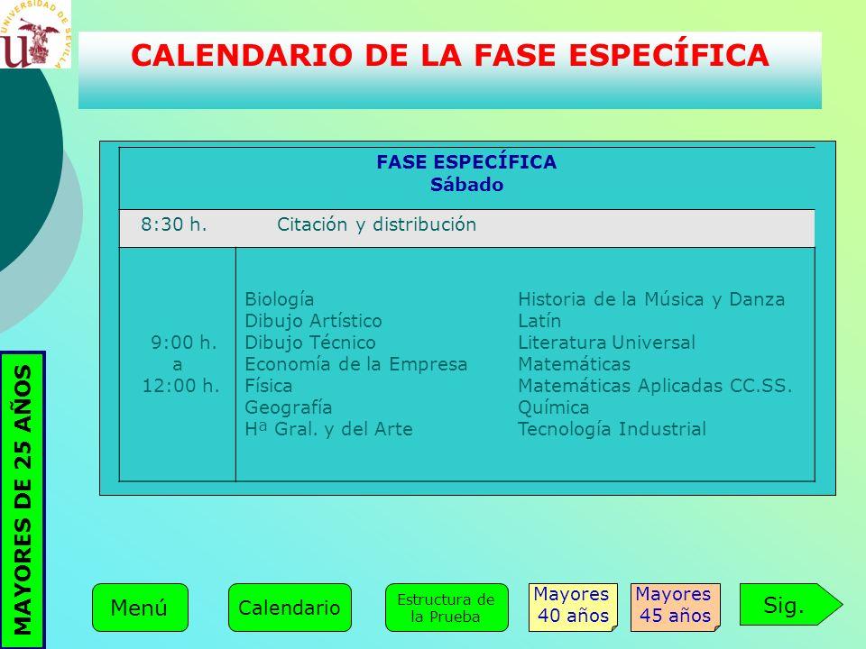 FASE ESPECÍFICA Sábado 8:30 h. Citación y distribución 9:00 h. a 12:00 h. Biología Dibujo Artístico Dibujo Técnico Economía de la Empresa Física Geogr