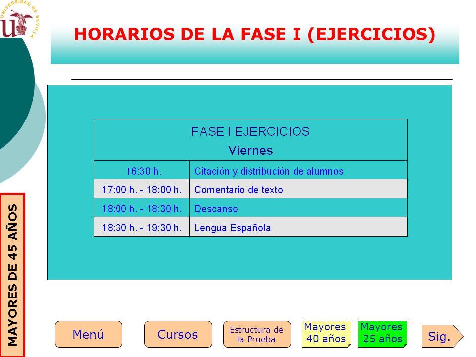 HORARIOS DE LA FASE I (EJERCICIOS) Sig. Mayores 25 años Mayores 40 años Estructura de la Prueba MenúCursos MAYORES DE 45 AÑOS