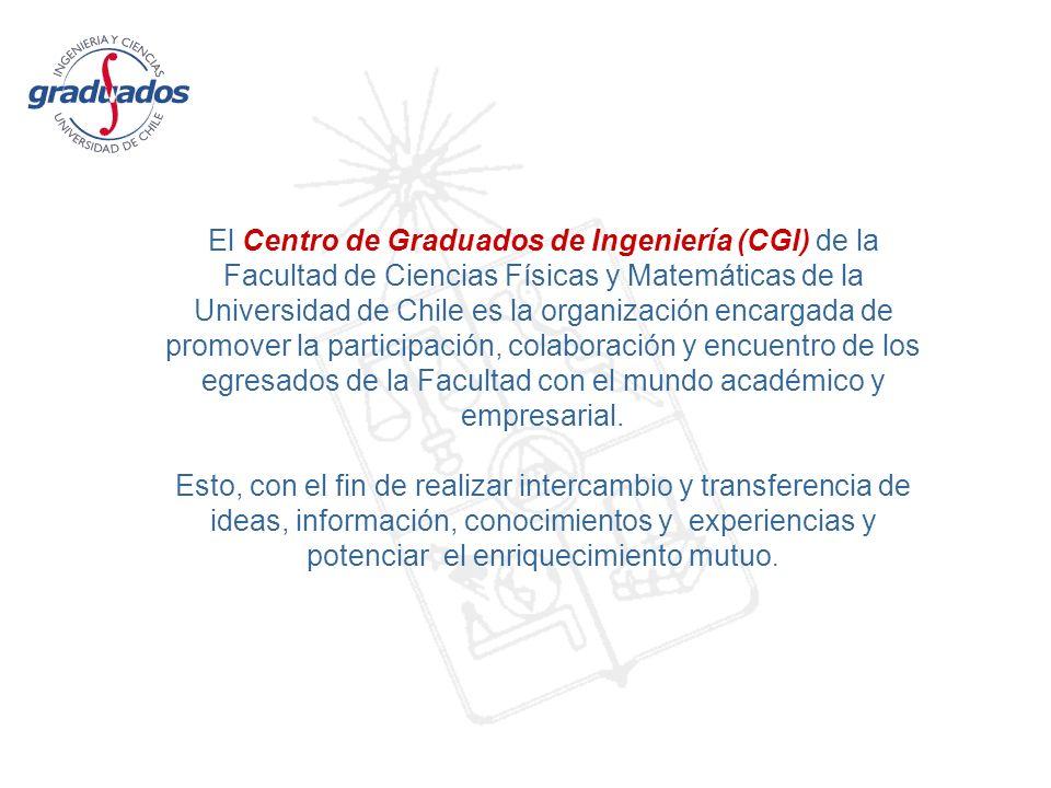 El Centro de Graduados de Ingeniería (CGI) de la Facultad de Ciencias Físicas y Matemáticas de la Universidad de Chile es la organización encargada de promover la participación, colaboración y encuentro de los egresados de la Facultad con el mundo académico y empresarial.