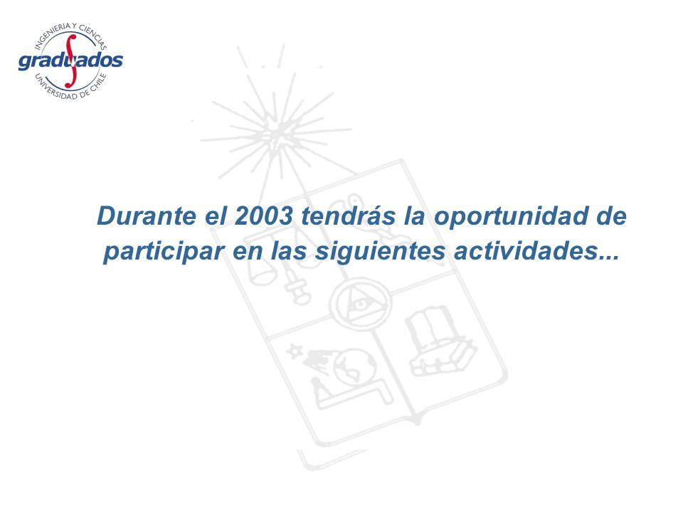Durante el 2003 tendrás la oportunidad de participar en las siguientes actividades...