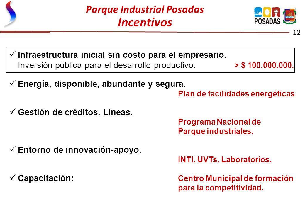 Parque Industrial Posadas Incentivos 12 Infraestructura inicial sin costo para el empresario. Inversión pública para el desarrollo productivo. > $ 100
