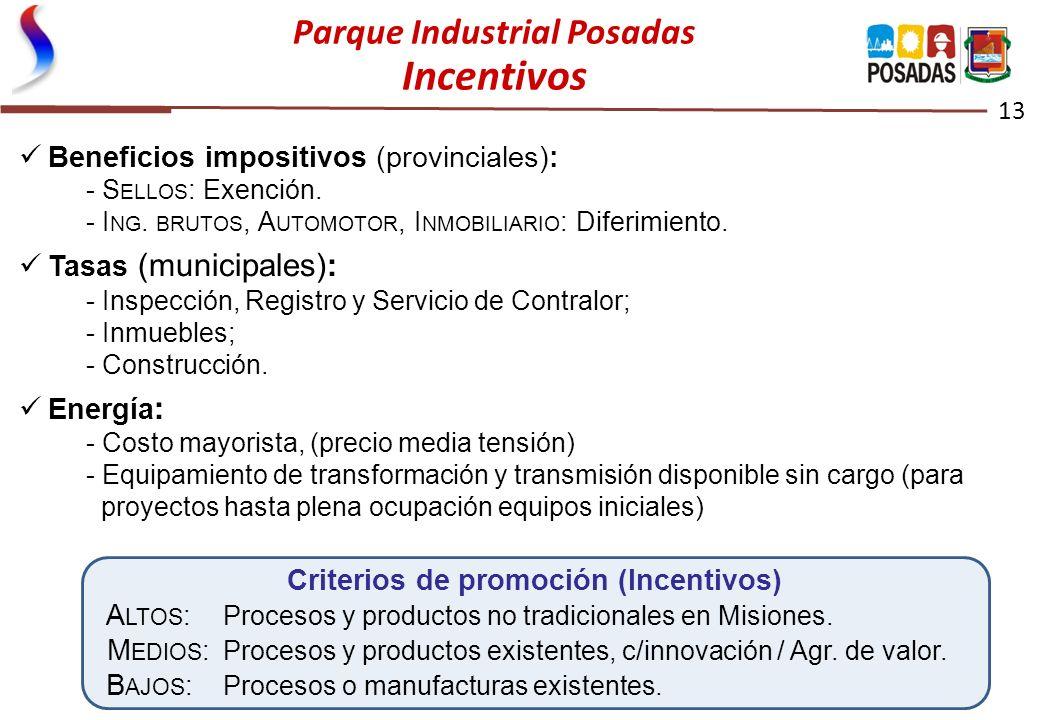 Parque Industrial Posadas Incentivos 13 Beneficios impositivos (provinciales): - S ELLOS : Exención. - I NG. BRUTOS, A UTOMOTOR, I NMOBILIARIO : Difer