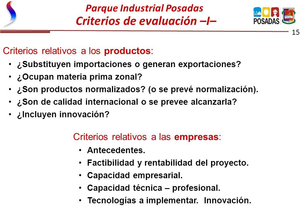 15 Criterios relativos a los productos: ¿Substituyen importaciones o generan exportaciones? ¿Ocupan materia prima zonal? ¿Son productos normalizados?