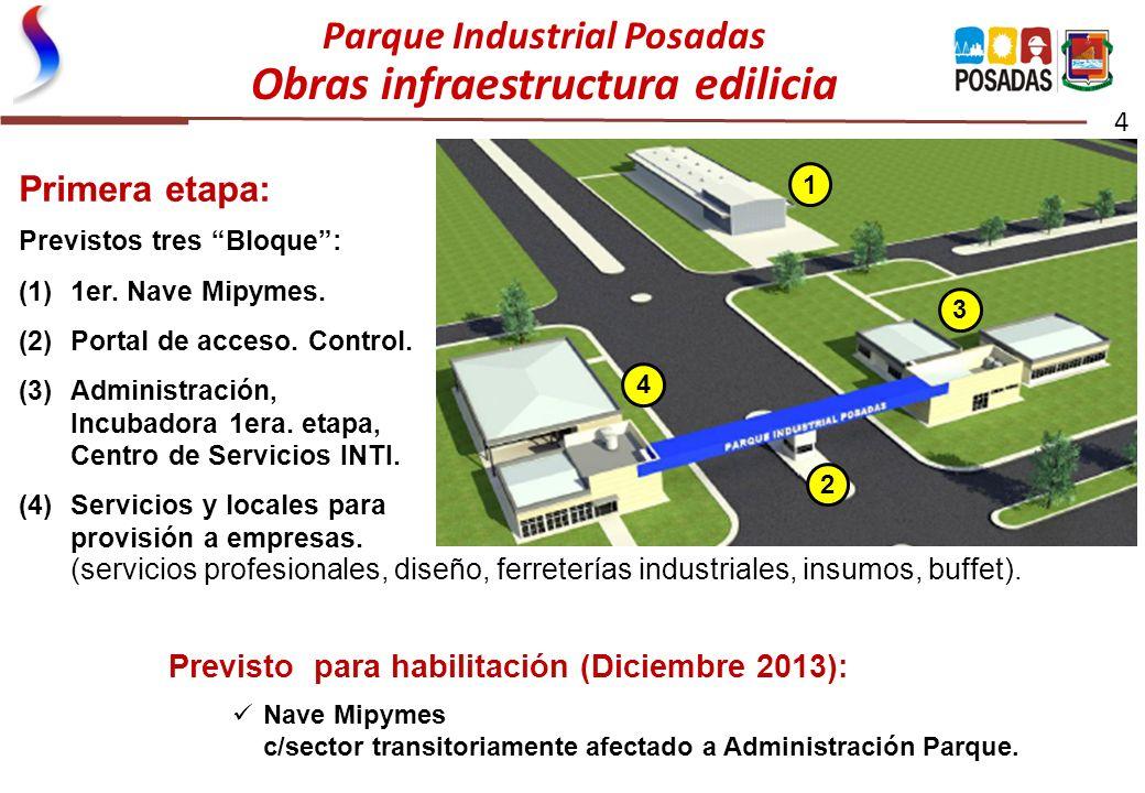 Parque Industrial Posadas Obras infraestructura edilicia 4 Primera etapa: Previstos tres Bloque: (1)1er. Nave Mipymes. (2)Portal de acceso. Control. (