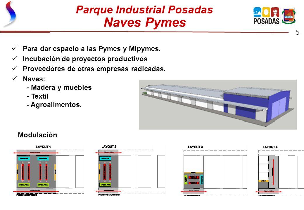 Parque Industrial Posadas Naves Pymes 5 Naves Pymes, para complementariedad y/o provisión empresas mayores Modulación Para dar espacio a las Pymes y M