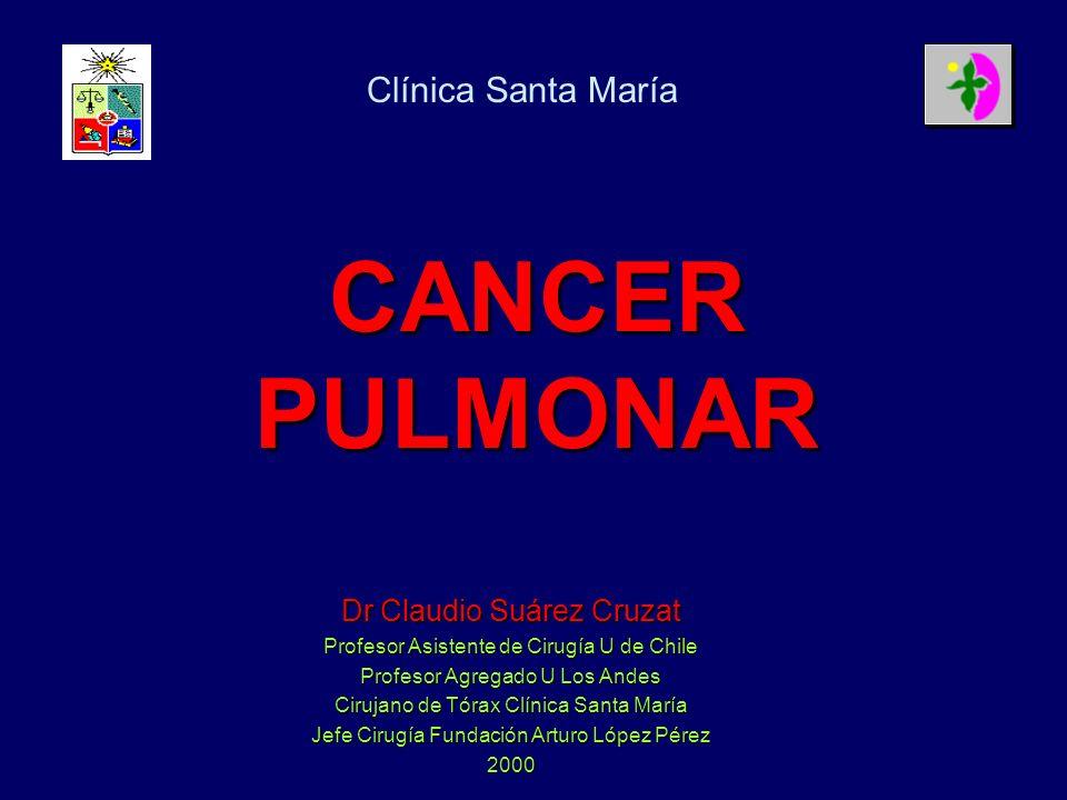 CANCER PULMONAR Dr Claudio Suárez Cruzat Profesor Asistente de Cirugía U de Chile Profesor Agregado U Los Andes Cirujano de Tórax Clínica Santa María