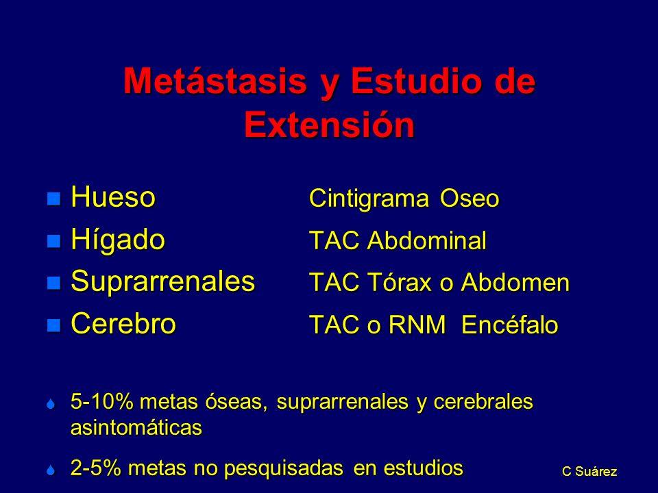 C Suárez Metástasis y Estudio de Extensión n Hueso Cintigrama Oseo n Hígado TAC Abdominal n Suprarrenales TAC Tórax o Abdomen n Cerebro TAC o RNM Encéfalo S 5-10% metas óseas, suprarrenales y cerebrales asintomáticas S 2-5% metas no pesquisadas en estudios