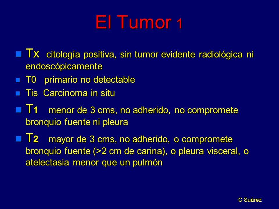 C Suárez El Tumor 1 n Tx citología positiva, sin tumor evidente radiológica ni endoscópicamente n T0 primario no detectable n Tis Carcinoma in situ n T 1 menor de 3 cms, no adherido, no compromete bronquio fuente ni pleura n T 2 mayor de 3 cms, no adherido, o compromete bronquio fuente (>2 cm de carina), o pleura visceral, o atelectasia menor que un pulmón