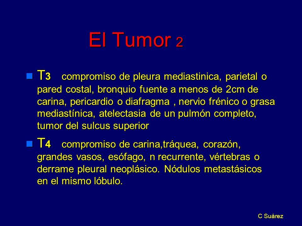 C Suárez El Tumor 2 n T 3 compromiso de pleura mediastinica, parietal o pared costal, bronquio fuente a menos de 2cm de carina, pericardio o diafragma, nervio frénico o grasa mediastínica, atelectasia de un pulmón completo, tumor del sulcus superior n T 4 compromiso de carina,tráquea, corazón, grandes vasos, esófago, n recurrente, vértebras o derrame pleural neoplásico.