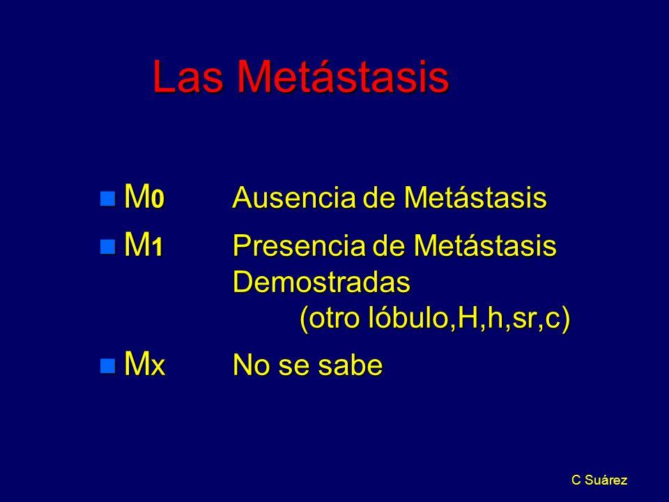 C Suárez Las Metástasis n M 0 Ausencia de Metástasis n M 1 Presencia de Metástasis Demostradas (otro lóbulo,H,h,sr,c) n M x No se sabe