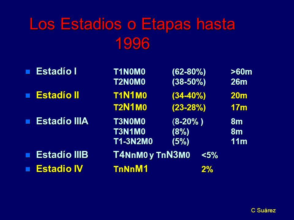 C Suárez Los Estadios o Etapas hasta 1996 n Estadío I T1N0M0 (62-80%)>60m T2N0M0 (38-50%)26m n Estadío II T1 N1 M0 (34-40%)20m T2 N1 M0 (23-28%)17m n Estadío IIIA T3N0M0 (8-20% )8m T3N1M0 (8%)8m T1-3N2M0(5%)11m n Estadío IIIBT4 NnM0 y Tn N3 M0 <5% n Estadio IV TnNn M1 2%