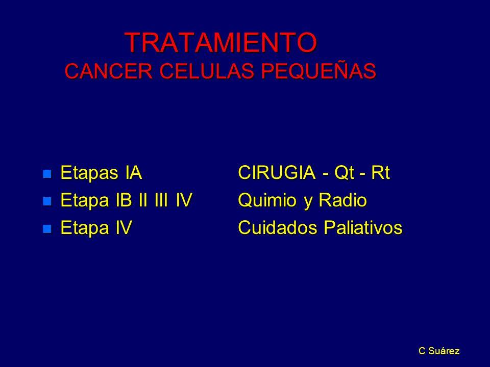 C Suárez TRATAMIENTO CANCER CELULAS PEQUEÑAS n Etapas IA CIRUGIA - Qt - Rt n Etapa IB II III IVQuimio y Radio n Etapa IVCuidados Paliativos