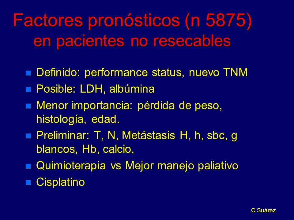 C Suárez Factores pronósticos (n 5875) en pacientes no resecables n Definido: performance status, nuevo TNM n Posible: LDH, albúmina n Menor importancia: pérdida de peso, histología, edad.