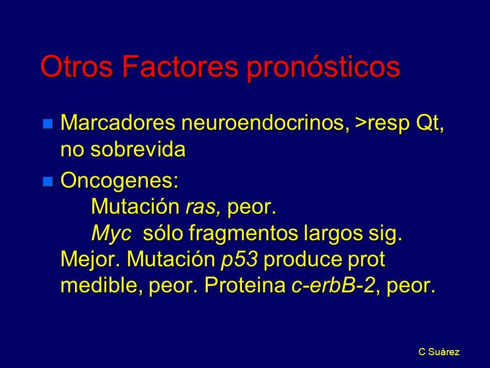 C Suárez Otros Factores pronósticos n Marcadores neuroendocrinos, >resp Qt, no sobrevida n Oncogenes: Mutación ras, peor.