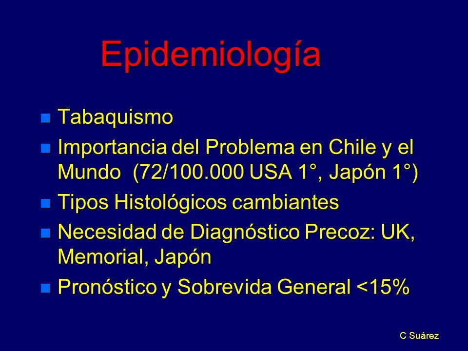 C Suárez Epidemiología n Tabaquismo n Importancia del Problema en Chile y el Mundo (72/100.000 USA 1°, Japón 1°) n Tipos Histológicos cambiantes n Nec