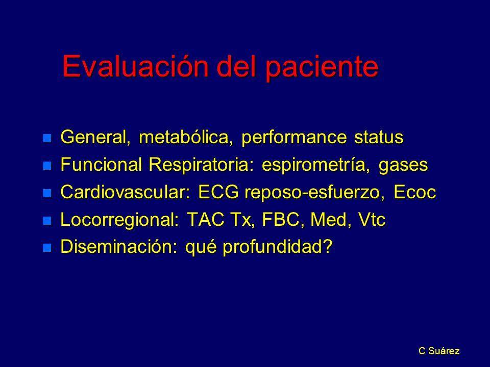 C Suárez Evaluación del paciente n General, metabólica, performance status n Funcional Respiratoria: espirometría, gases n Cardiovascular: ECG reposo-