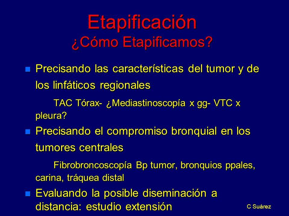 C Suárez Etapificación ¿Cómo Etapificamos? n Precisando las características del tumor y de los linfáticos regionales TAC Tórax- ¿Mediastinoscopía x gg