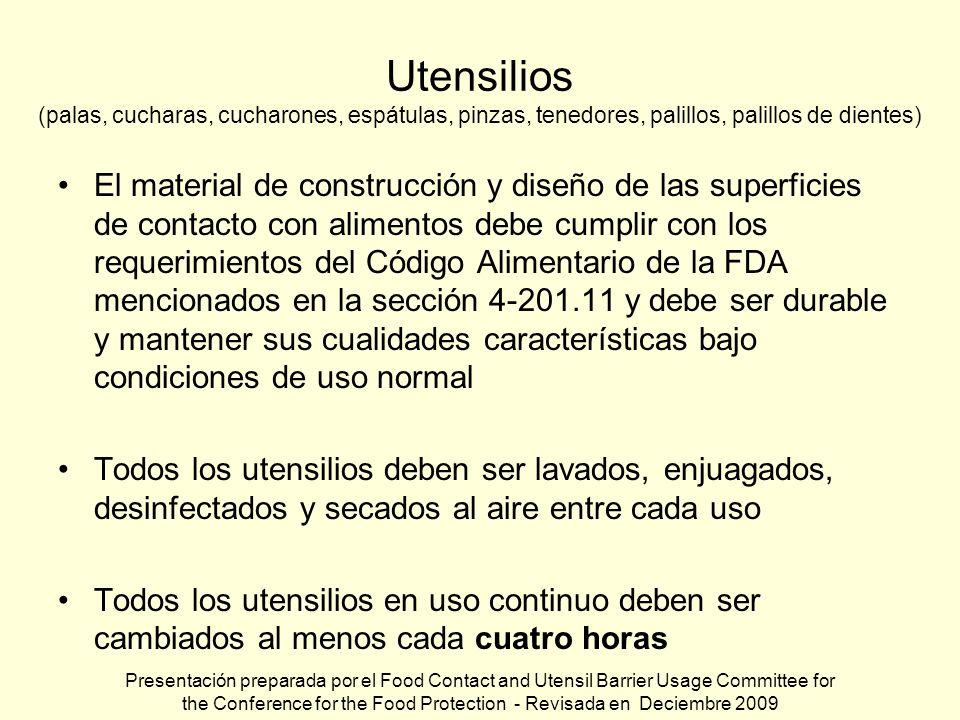 Utensilios (palas, cucharas, cucharones, espátulas, pinzas, tenedores, palillos, palillos de dientes) El material de construcción y diseño de las supe