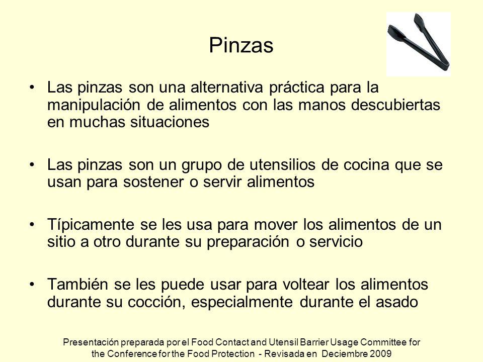 Pinzas Las pinzas son una alternativa práctica para la manipulación de alimentos con las manos descubiertas en muchas situaciones Las pinzas son un gr