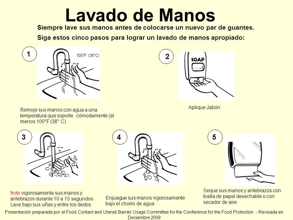 Lavado de Manos 100°F (38°C) Remoje sus manos con agua a una temperatura que soporte cómodamente (al menos 100°F (38° C) 1 2 453 frote vigorosamente s