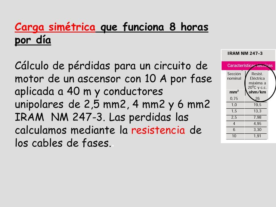 Carga simétrica que funciona 8 horas por día Cálculo de pérdidas para un circuito de motor de un ascensor con 10 A por fase aplicada a 40 m y conductores unipolares de 2,5 mm2, 4 mm2 y 6 mm2 IRAM NM 247-3.