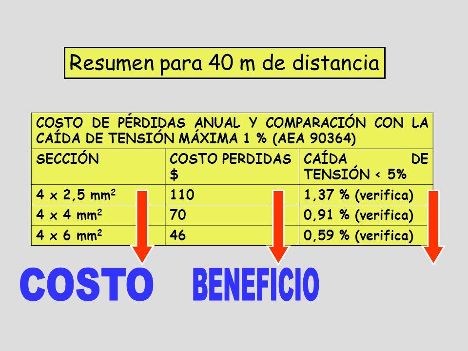 Resumen para 40 m de distancia COSTO DE PÉRDIDAS ANUAL Y COMPARACIÓN CON LA CAÍDA DE TENSIÓN MÁXIMA 1 % (AEA 90364) SECCIÓNCOSTO PERDIDAS $ CAÍDA DE TENSIÓN < 5% 4 x 2,5 mm 2 1101,37 % (verifica) 4 x 4 mm 2 700,91 % (verifica) 4 x 6 mm 2 460,59 % (verifica)